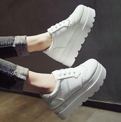 £28.99 • Buy 2020 Women's Pumps Wing-tip Brogue Lace Up Platform Falts Wedge Casual Shoes 016