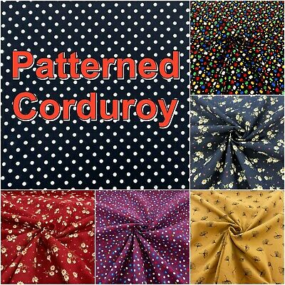 £4.19 • Buy Printed Cotton Patterned Pincord Needle CORD CORDUROY Dungaree Dress Fabric
