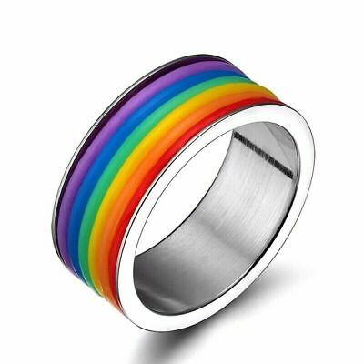 £4.99 • Buy Gay Pride LGBT Lesbian Love Ring Women Jewellery Stainless Steel Filled Band