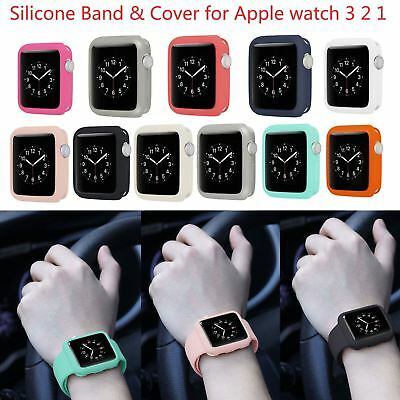 $ CDN11.37 • Buy Sport Wrist Band W Cover For Apple Watch Series 1 2 3 Soft Silicone Rubber Belt