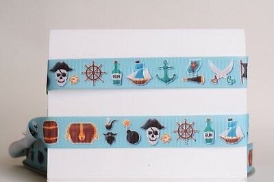 £1.94 • Buy PIRATE THEME 7/8  Grosgrain Ribbon 1,3,5,10 Yards SHIP FROM US HAIRBOW