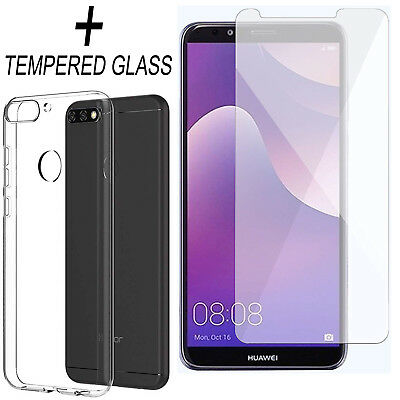 For HUAWEI Y7 Prime 2018 Clear TPU Gel Only Back Case Cover + Tempered Glass • 2.89£