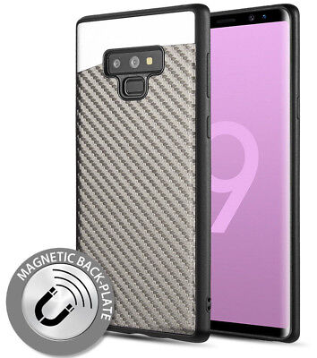 $ CDN11.13 • Buy For Samsung Galaxy Note 9 - Magnetic Backplate GRAY Carbon Fiber TPU Rubber Case