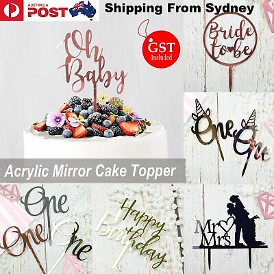 AU5.99 • Buy Acrylic Mirror Cake Topper Party Event Bride To Be Unicorn One Oh Baby Birthday