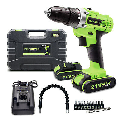 View Details 21-Volt Drill 2 Speed Electric Cordless Drill/Driver With Bits Set & 2 Batteries • 73.99$
