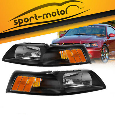 $62.02 • Buy Black Housing Headlights For 1999-2004 Ford Mustang Replacement 99-04 Left+Right