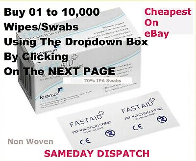 Fast Aid  IPA Alcohol Wipes Pre-Injection Swabs  NAIL TATTOO Please READ LISTING • 4.99£