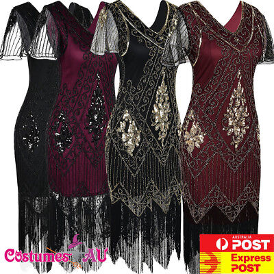 AU37.99 • Buy Ladies 20s 1920s Roaring Flapper Costume Sequin Gatsby Black Blue Fancy Dress