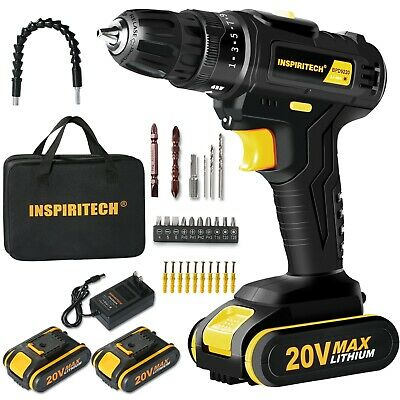 View Details 20Volt Drill 2 Speed Electric Cordless Drill/Driver With Bits Set & 2 Batteries • 49.99$