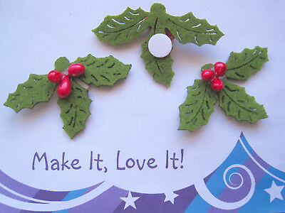 3 X HOLLY BERRY LEAF FELT Cut Outs CRAFT Card Making XMAS Decorations Green Red • 1.29£