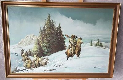 Stunning Hunting Scene On Horses Native Americans Large Oil Painting • 149.95£