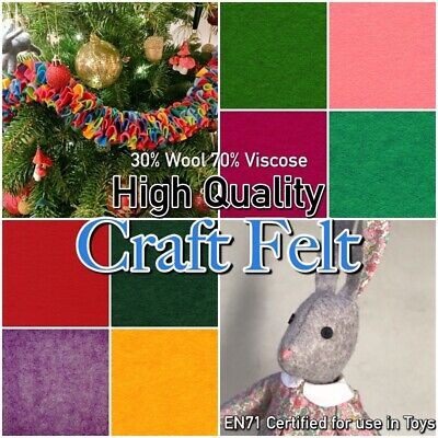 PREMIUM WOOL BLEND FELT 30% Wool 70% Viscose Plain 300g Craft Felt Fabric  • 4.79£