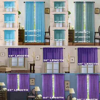 $7 • Buy 2pc Home Decor Voile Sheer Window Dressing Rod Pocket Curtain Treatment Panel