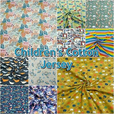 £5.99 • Buy Colourful Children's Patterned Cotton 4 Way Stretch Knit JERSEY Dress Fabric