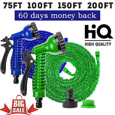 Expandable Flexible Garden Magic Water Hose Pipe Spray Gun Heavy Duty 75 -200ft • 9.91£