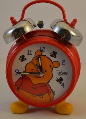 £11.21 • Buy Disney Winnie The Pooh Double Bell Red Alarm Clock With Yellow Feet WORKS!