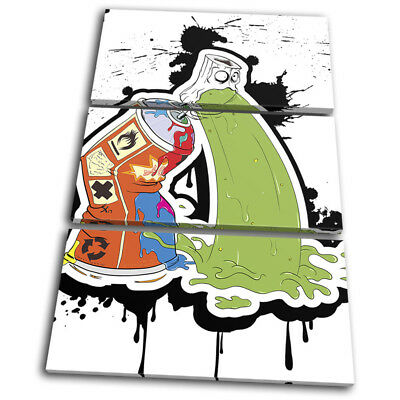 Spray Paint Can Vomit Street Art Graffiti TREBLE CANVAS WALL ART Picture Print • 49.99£