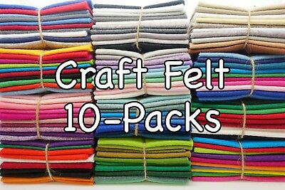 Wool Blend Craft FELT SQUARE COLOUR PACKS: 9  / 22cm EN71 Standard (10- Packs) • 5.15£