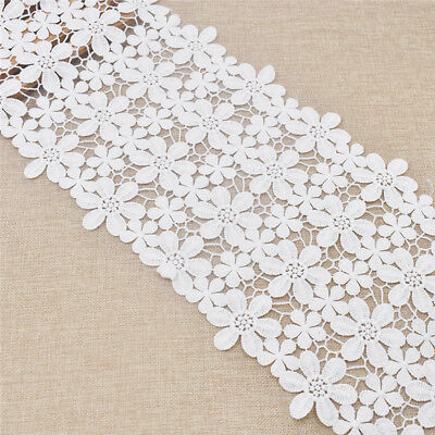 $ CDN10.49 • Buy 2 Yards Wide Embroidered White Elastic Lace Trims Ribbon Fabric Sewing Supplies