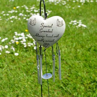 £10.34 • Buy Special Grandad Heart Memorial Wind Chime Tribute Plaque With Butterfly Flower