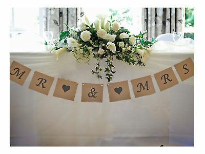 Mr & And Mrs Bunting Wedding Venue Top Table Decoration Banner Garland Vintage • 6.95£