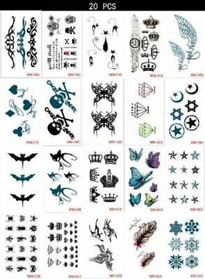 £2.99 • Buy 20 Style Temporary Tattoos Sleeves Paper For Women Body Art Tattoo Stickers Fake