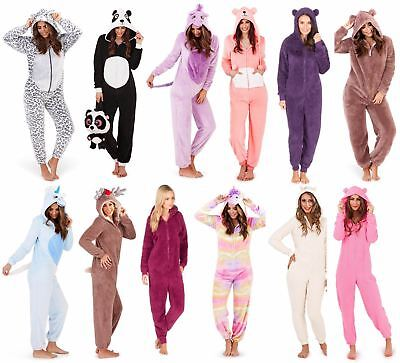 Womens Ladies Animals Novelty One Piece Soft Fleece Loungewear Pyjama All In One • 21.49£