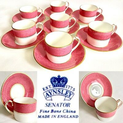 "Set Of 6 Rare Vintage Aynsley ""Senator"" Bone China Tea / Coffee Cups & Saucers • 200£"