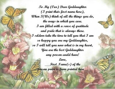 Personalized Poem Gift For That Special Goddaughter (See All Styles) • 6.60£