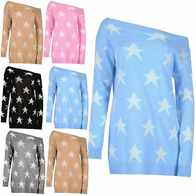 Ladies Womens Off The Shoulder Seeing Star Baggy Knitted Sweater Top UK 8-22 • 4.33£