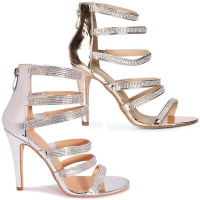 £6.95 • Buy Womens Wedding Shoes New Ladies High Heels Bridal Evening Party Strappy Sandals