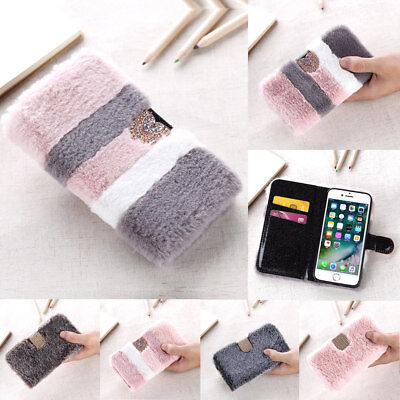 Soft Warm Fluffy Faux Fur Wallet Case Crystal Flip Cover Card Slot For IPhone • 6.39£
