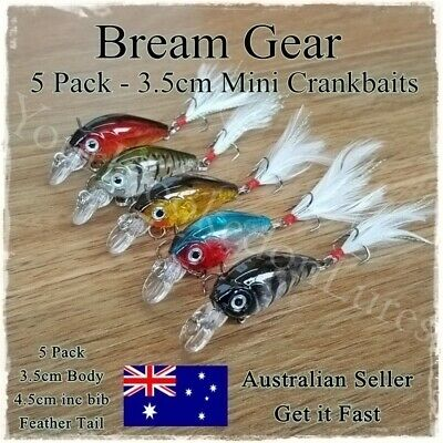 AU8.95 • Buy 5 Bream & Trout Fishing Lures Yellowbelly Redfin, Flathead Salmon, Whiting 3.5cm