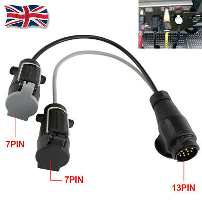 13 Pin To 7 Pin Adaptor Trailer Extension Lead Caravan Towing Socket Plug Board • 9.99£