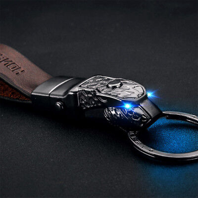 $ CDN18.07 • Buy Black Panthera Blue Led Eye Cowhide Leather Strap Car Keychain Keyring Superb