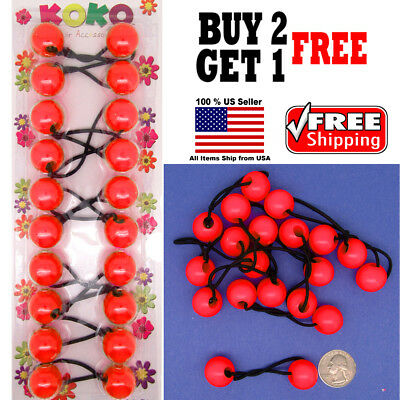 $4.98 • Buy Red Braid Girls Kids Scrunchie Jumbo Beads Hair Tie Ball Ponytail Holder Bands