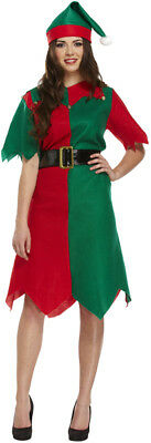 £3.99 • Buy Adult's Christmas Elf Costume: Red & Green Festive Dress & Hat Fancy Dress Party