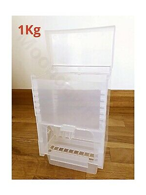1Kg SEED HOPPER/ FEEDER LARGE PLASTIC FOR AVIARY BIRD CAGE - FINCH CANARY Etc • 10.95£