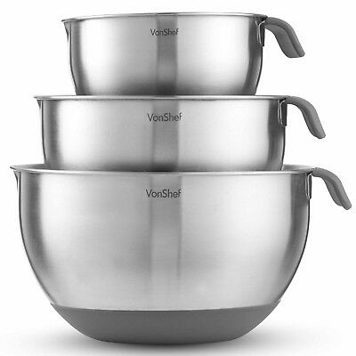 VonShef Mixing Bowl Set Stainless Steel Large 3 Piece Non Slip Cooking 5 Litre • 24.99£