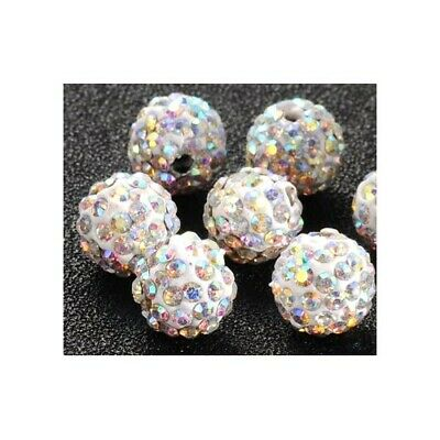 £2.79 • Buy Silver Polymer Clay Beads Disco Ball 10mm Rhinestone Pack Of 10