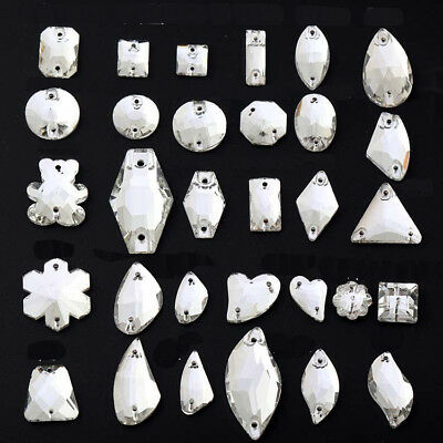 Crystal AB Sew On Rhinestones Flatback Crystal Glass Teardrop Oval Navette Beads • 8.98£