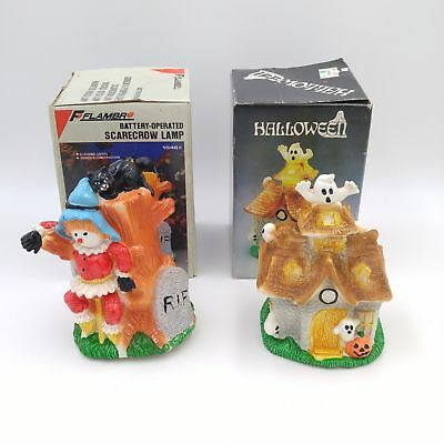 $ CDN17.50 • Buy Lot Of 2 Halloween Decorations - Scarecrow Lamp And Haunted House