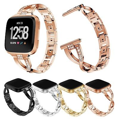 $ CDN17.82 • Buy Glitter Metal Strap For Fitbit Versa Band Stainless Steel Bracelet W Quick Pins