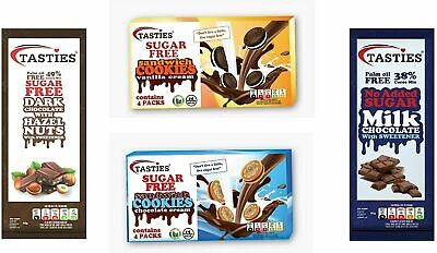 Sugar Free 4 Mixed Flavours Luxury Milk Chocolate, Hazelnut Chocolate, Cookies • 6.99£