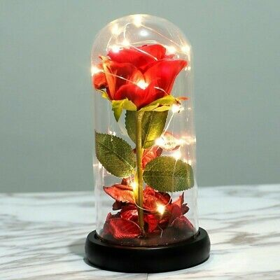 Light-Up Glass Red Rose Wedding Birthday Christmas Gift For Her Him GF BF Wife • 10.89£