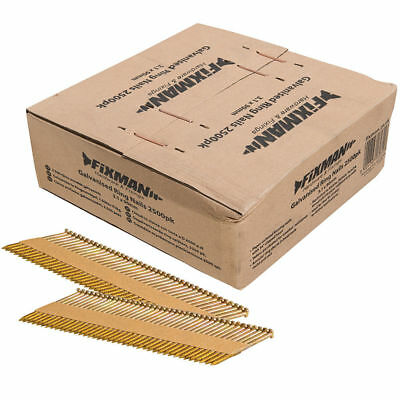 Fixman Collated Galvanised Ring Shank Framing Nails 34° 3.1mm X 90mm 2500 Pc U30 • 54.95£