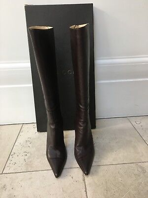 Gucci Authentic Women's Brown Leather Stiletto Knee-High Boots UK 7.5 Vintage • 230£