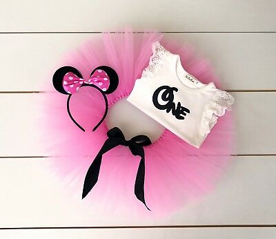 AU45 • Buy Minnie Mouse Cake Smash Outfit - 3 Piece First Birthday Tutu Set - Baby Girl