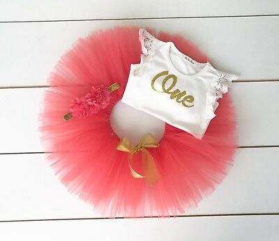 AU45 • Buy Coral & Gold Cake Smash Outfit 3 Piece First Birthday Set - Baby Girl Watermelon
