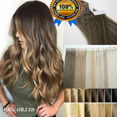 8A Russian Tape In THICK 100% Remy Human Hair Extensions Full Head 14 -24  US868 • 46.52£